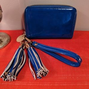 Deux Lux Blue Patent Leather Wristlet with Tassels
